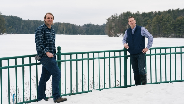 Nathaniel Kitchel and Jeremy DeSilva outside near a snowy Ct. River.